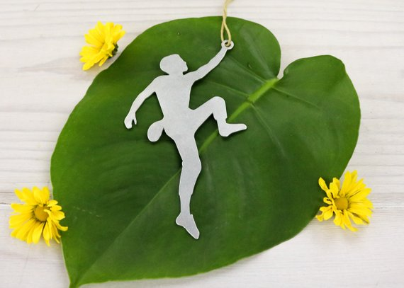 Male Rock Climber Metal Ornament