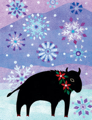 Bison in Snow Season's Greetings Card