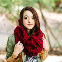 Red Chunky Knit Cowl Scarf