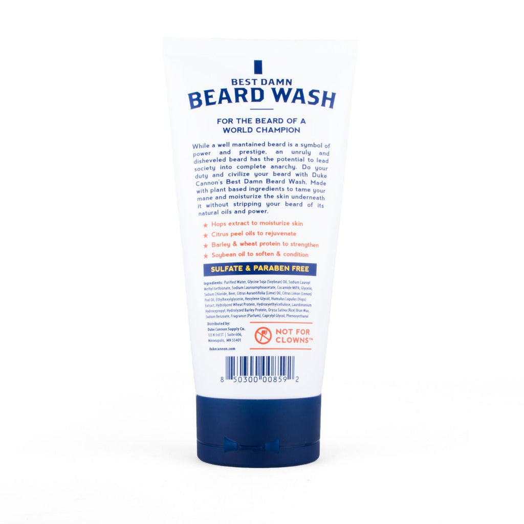 Reverse of Beard Wash Label