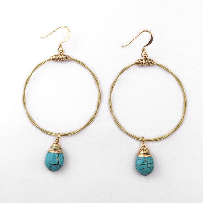 Guitar String Hoops with Turquoise Briolette