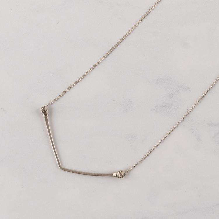 Sterling Silver Wide V Necklace