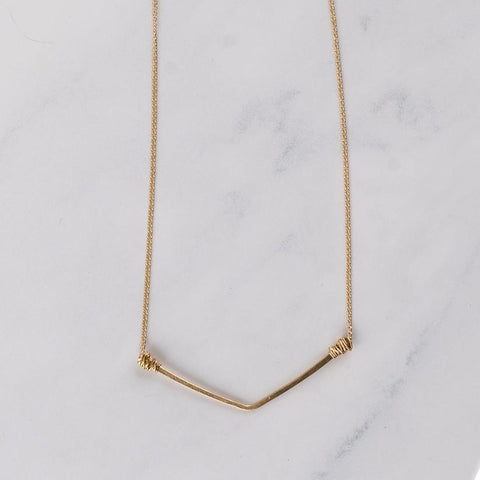 14k Gold Fill Wide V Basic Necklace