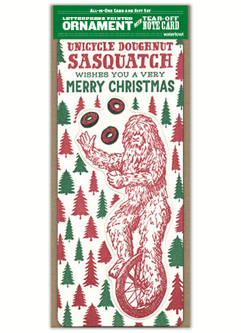 Sasquatch Letterpress Card and Ornament