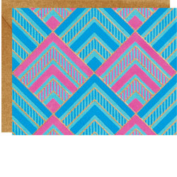 Geometric Teal Pink and Blue Note Cards