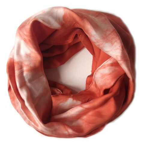 Orange Shibori Infinity Scarf