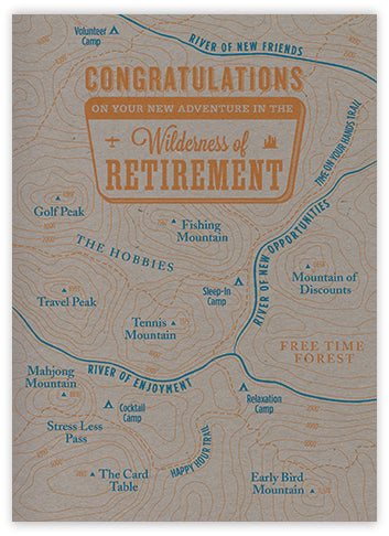 Retirement Map Letterpress Card
