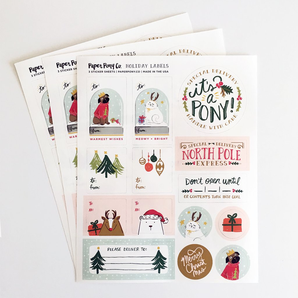 Illustrated Holiday Gift Tag Sticker Labels