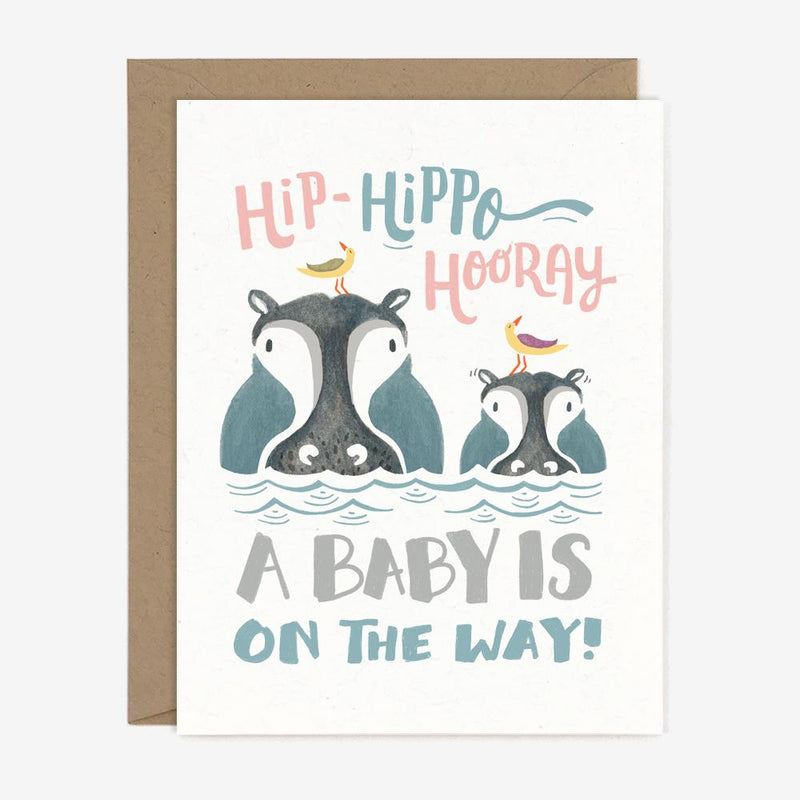 Hip Hippo Hooray Illustrated Baby Card