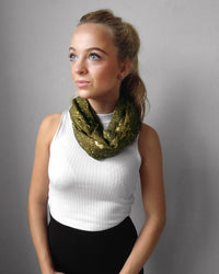 Green and gold speckled raw silk infinity scarf