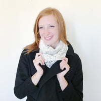 Black and White Speckled Raw Silk Infinity Scarf