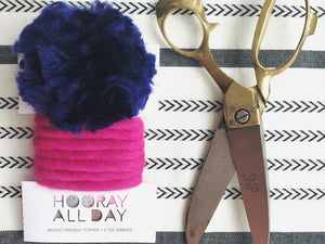 Wooly Ribbon Gift Topper Pink and Navy
