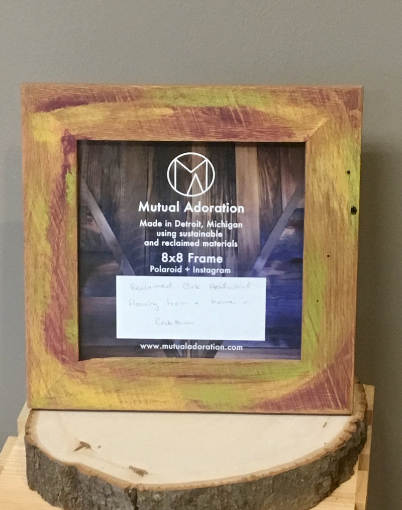 8x8 Frame Reclaimed Wood with Purple and Lime Stain