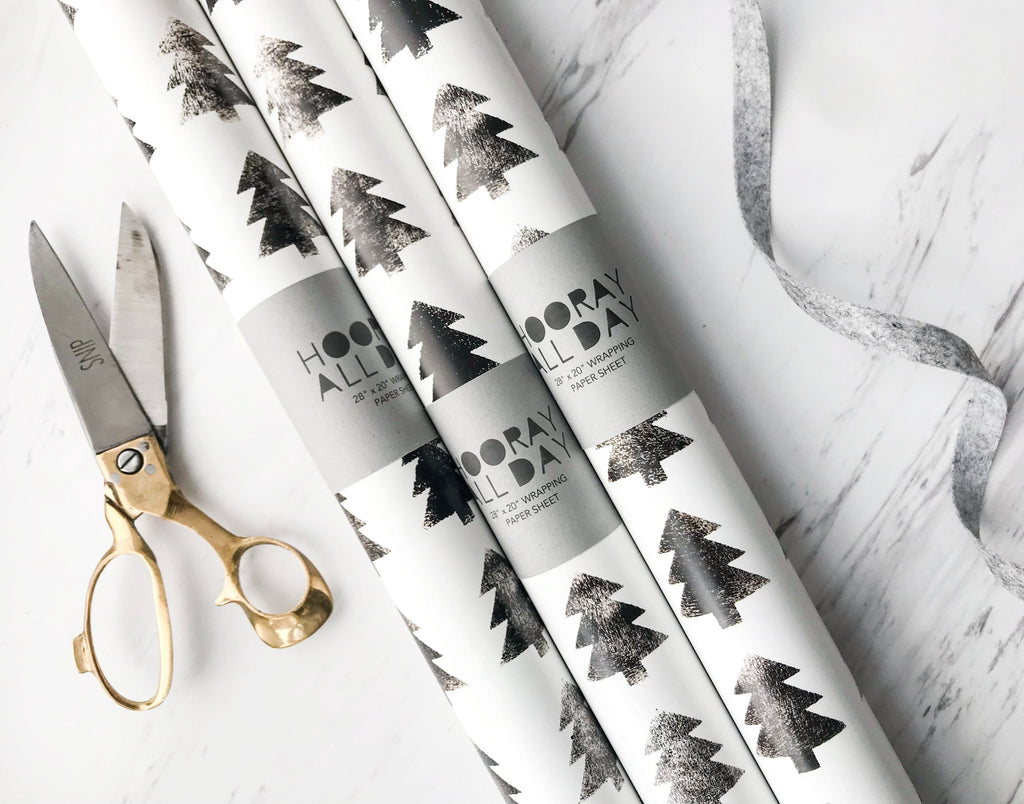 Scandinavian Black and White Block Tree Wrapping Paper