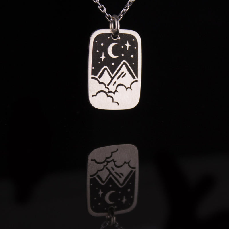 Mountain Nightscape Etched Silver Necklace