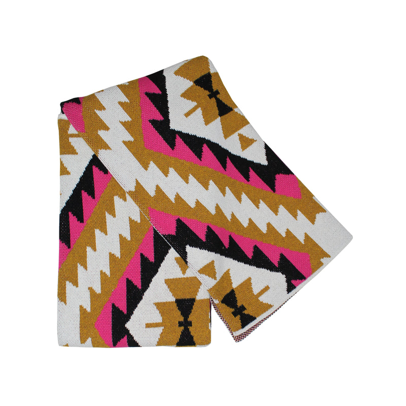 Adana Fuchsia Gold Black and Cream Eco Cotton Throw