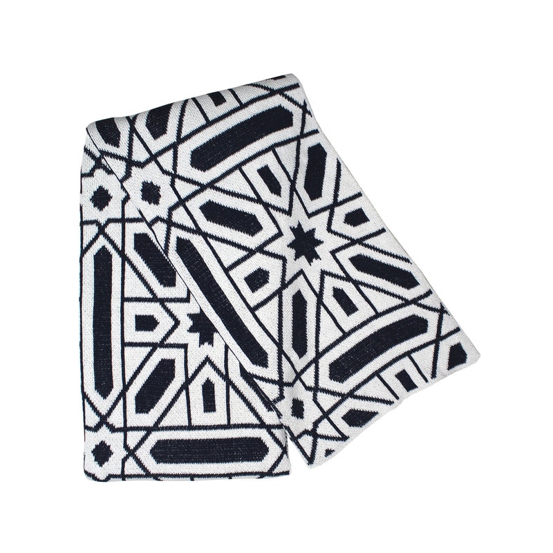 Alhambra Navy and Ivory Eco Cotton Throw