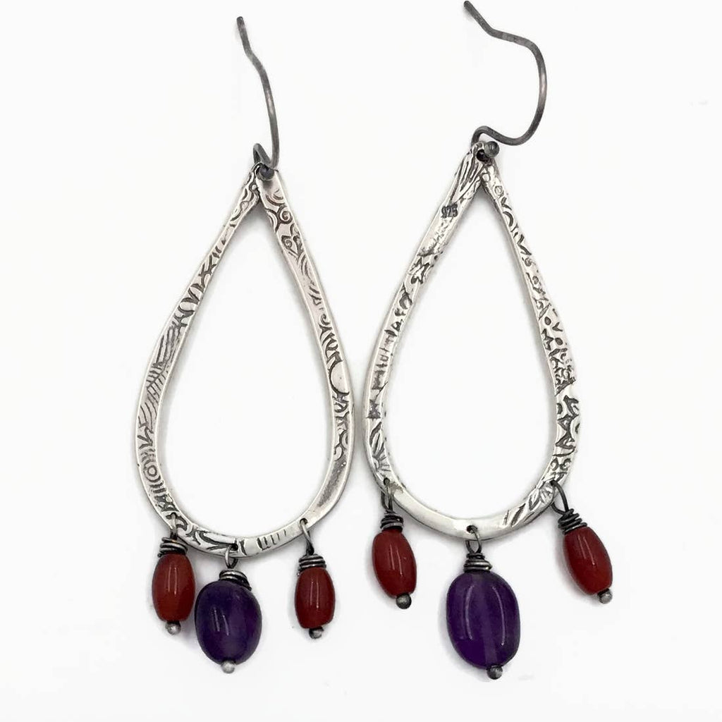 Sterling Silver Teardrop Earrings with Amethyst and Carnelian