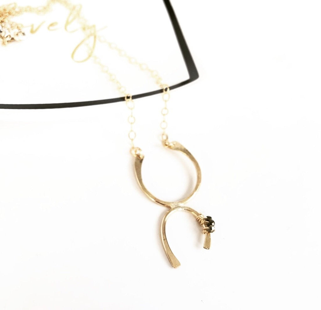 Gold Fill and Spinel Modern Horseshoe Necklace