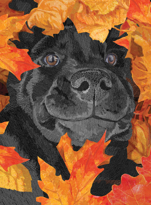 Dog in a pile of leaves thanksgiving greeting card