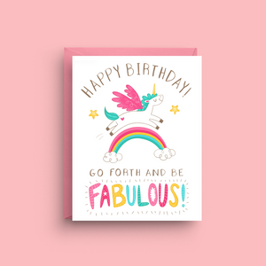 Fabulous Unicorn Birthday Card