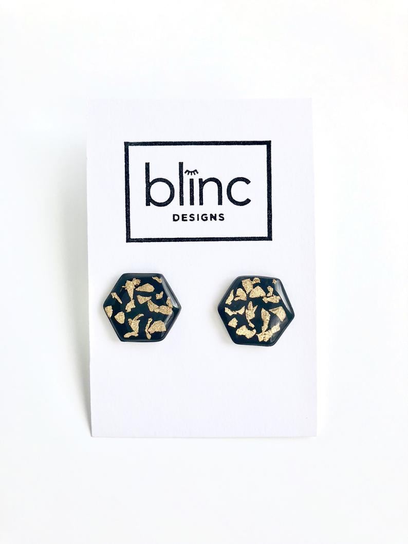 Black and Gold Leaf Resin Studs