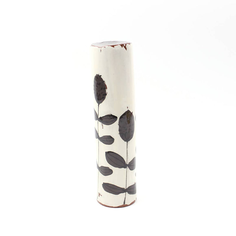Black and White Clover Handmade Skinny Ceramic Vase