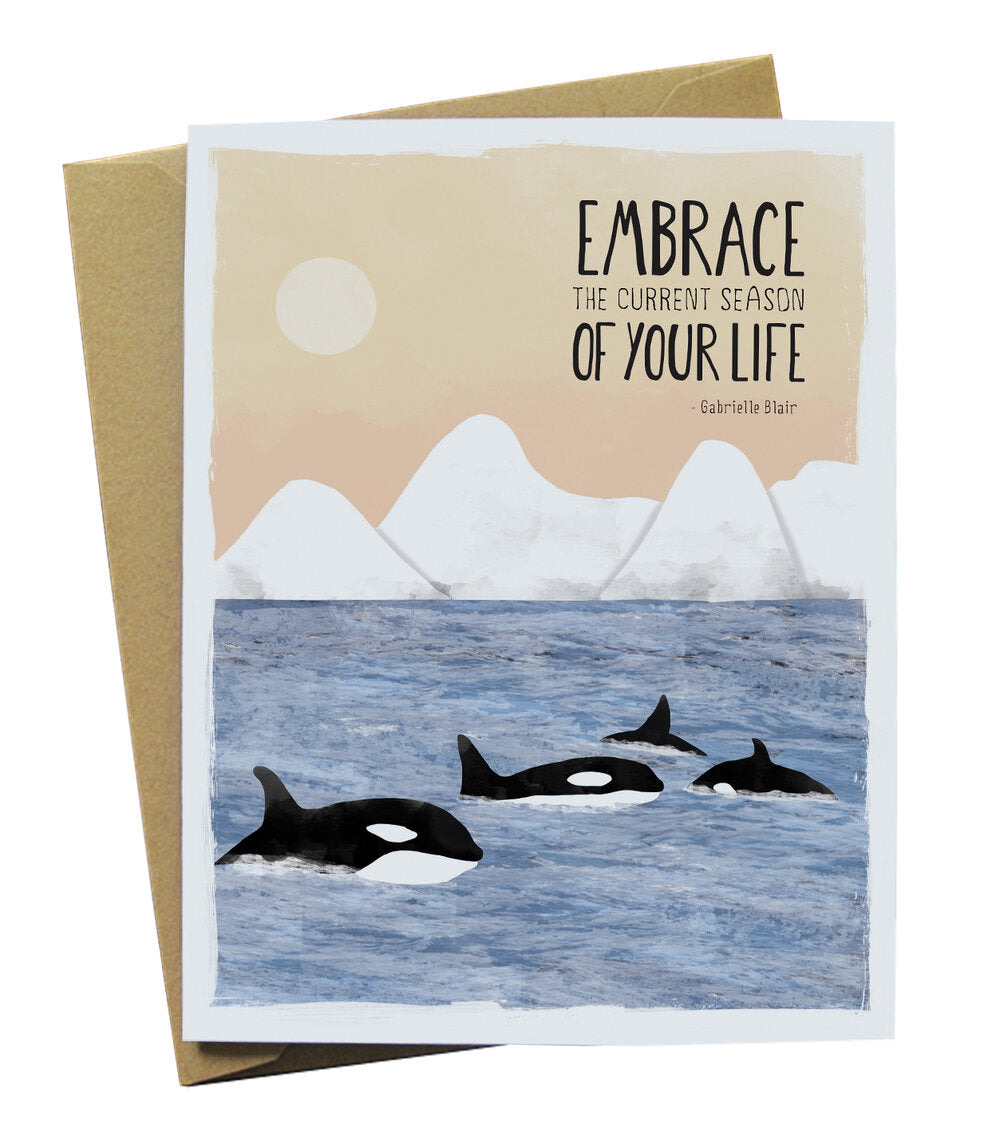 Blair Quote Card with Whales and Icebergs