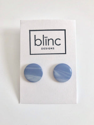 Blue & White Resin Post Earrings