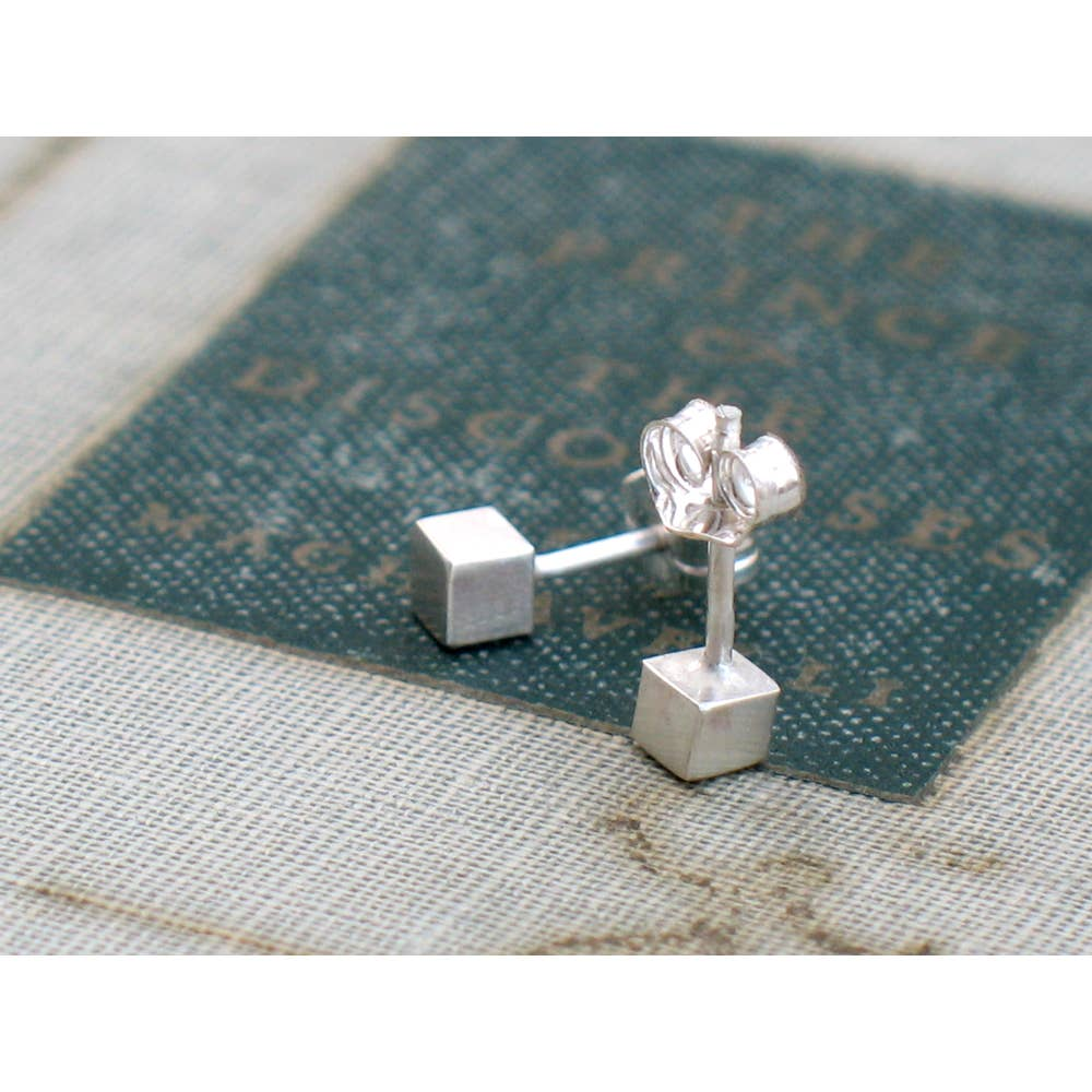 Tiny Silver Cube Studs