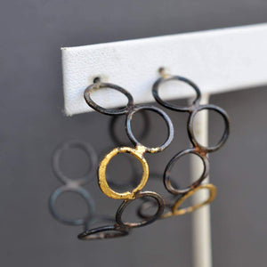 Small Steel and Gold Bubble Hoops