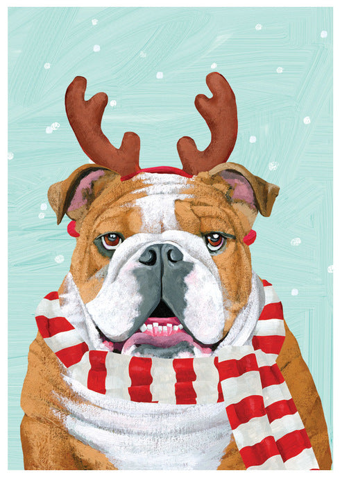 Illustrated Bulldog with Reindeer Antler Christmas Card