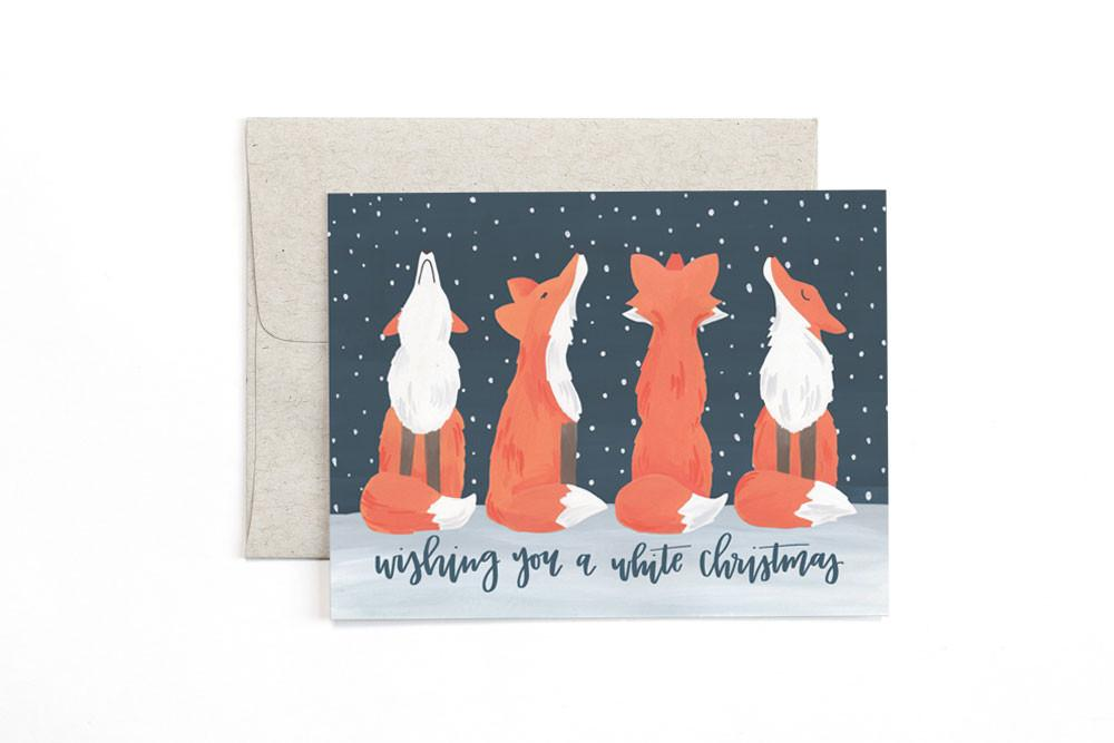Box of Foxy White Christmas Cards