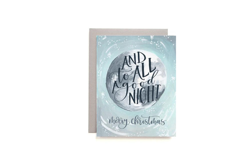 To All A Good Night Illustrated Christmas Moon Card