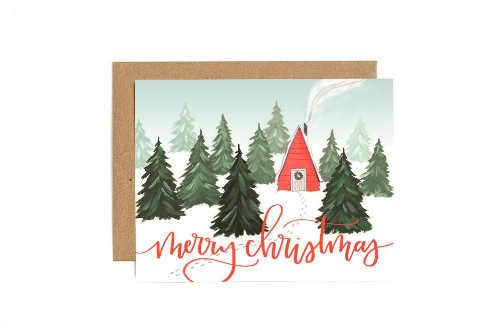 Box of Christmas Cabin Greeting Cards
