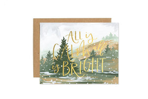 "Handpainted tree scene with gold foil ""all is calm and bright' christmas card"