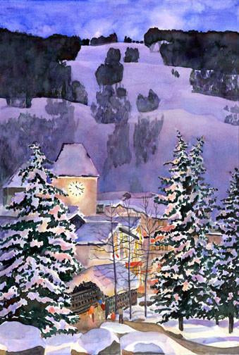 Vail, CO Moonlight Painting Holiday Card