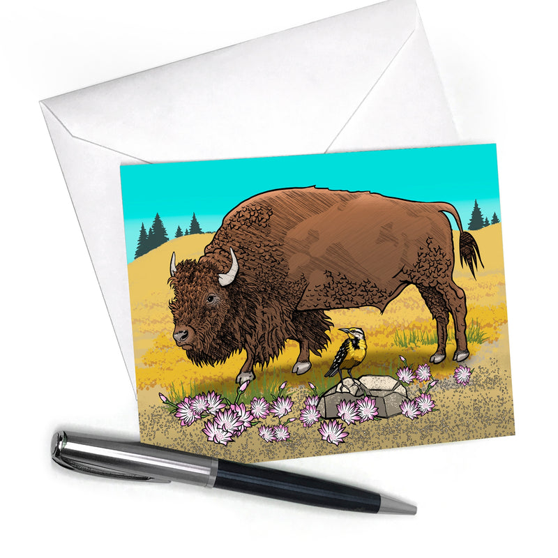 Montana Buffalo Bitterroot and Meadowlark Card