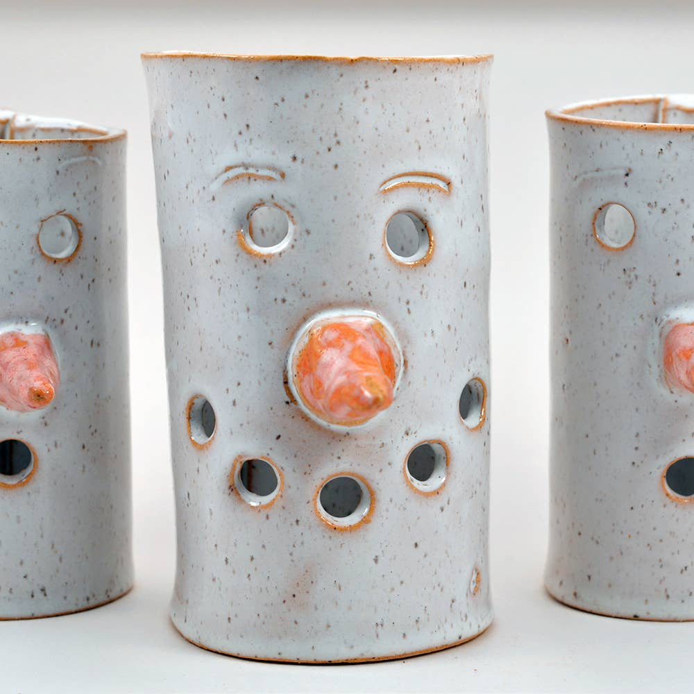Handmade Ceramic Tea Light Holders Shaped Like Snowmen
