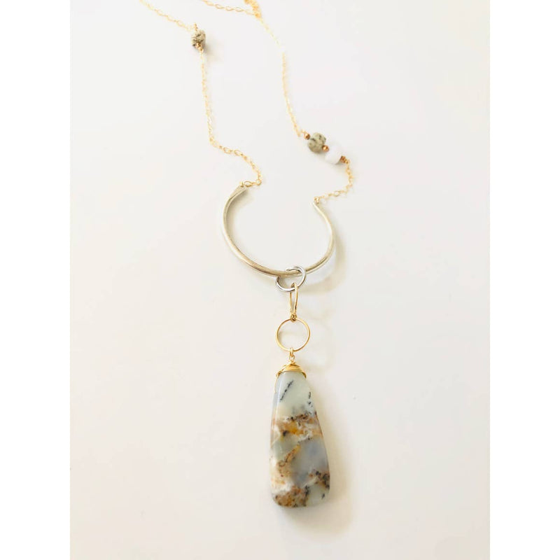 Chantelle Necklace With Large Agate Briolette and Mixed Metals