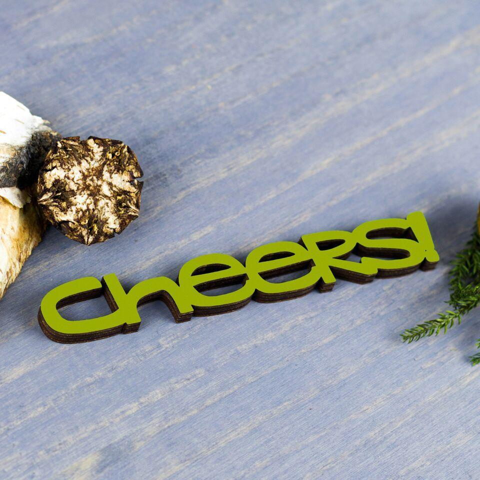 Cheers Tiny Word Wooden Ornament in Pear Green