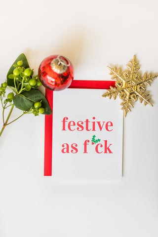 Festive AF Letterpress Holly Card