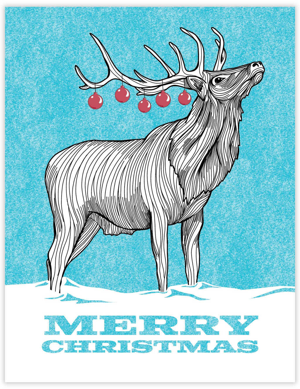 Elk with Christmas bulb antlers card