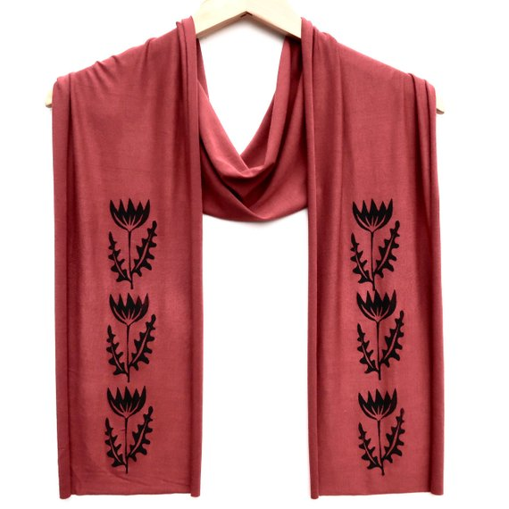 Cinnamon Folk Flower Scarf
