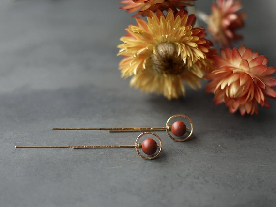 Rose Gold and Jasper Earrings