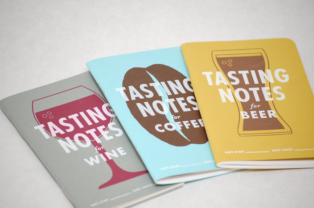 Covers of Wine, Coffee, and Beer Tasting Notebooks