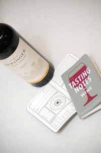 Cover and sample page from wine tasting notebook