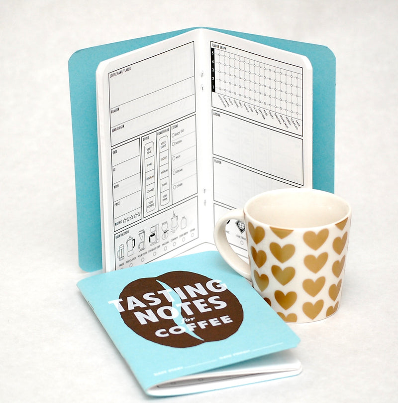 Cover and sample page from coffee tasting notebook