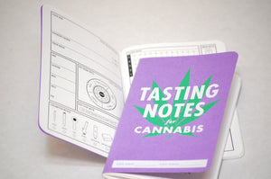 Cover and sample page of cannabis tasting notebook