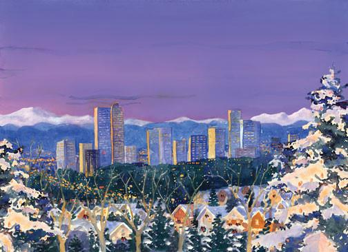 Denver Winter Twilight Skyline by Barbara Froula